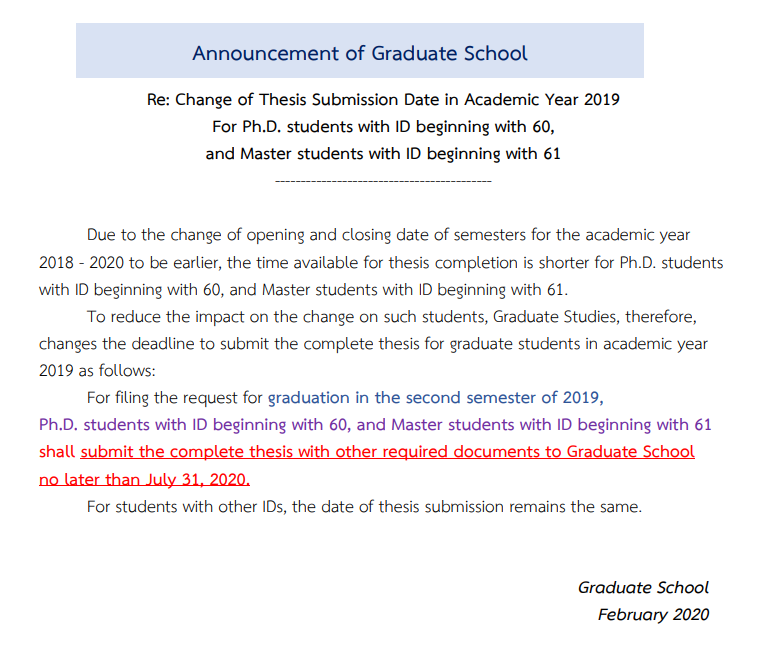 Change of Thesis Submission Date in Academic Year 2019 For Ph.D. students with ID beginning with 60, and Master students with ID beginning with 61