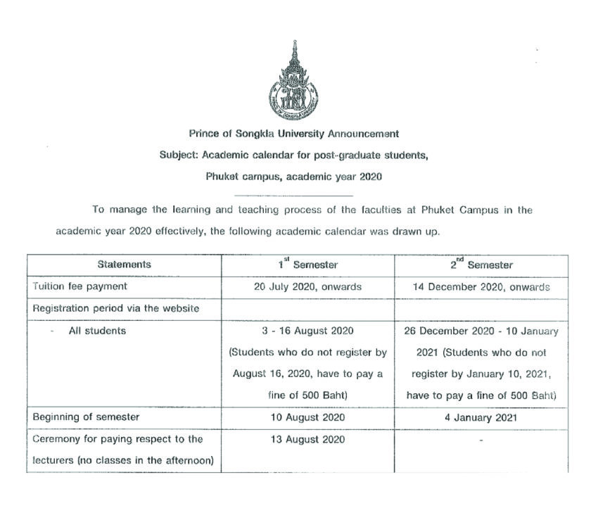 Academic Calendar for Phuket Campus Students: Academic year 2020